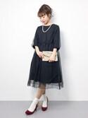 りっぴーさんの「layered dress(OKIRAKU オキラク)」を使ったコーディネート