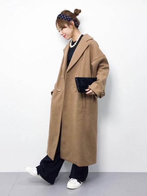 りっぴーさんの「オーバーサイズベルト付コート(EGOIST)」を使ったコーディネート