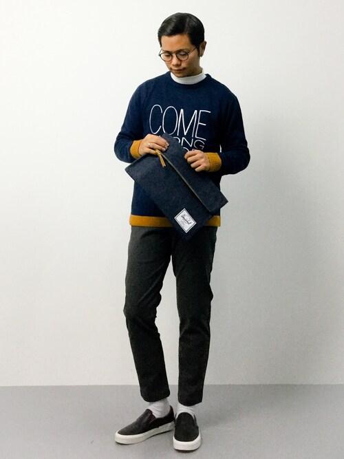 モックネック,着こなし,コーディネート,メンズ,セーター,ユニクロ,画像