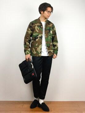 ZOZOTOWN|K-1RO(ケーイチロー)さんの「【1M】ドライ天竺ポケットTシャツ(coen)」を使ったコーディネート
