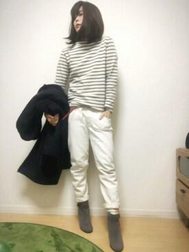 舞桜さんの「<15秋冬>【ORCIVAL(オーシバル)】コットンロード フレンチバスクシャツ(ORCIVAL)」を使ったコーディネート
