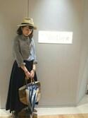 akiwaさんの「【晴雨兼用】モダンストライプ 長傘(everyday by collex|エブリデイバイコレックス)」を使ったコーディネート