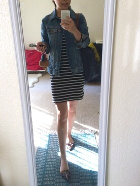「Stripe side-zip tee dress(J.CREW)」 using this xyzzz looks