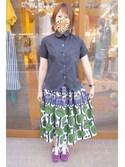 ヌルさんの「ファンタジアローン ちび衿 半袖シャツ(peu pres|プープレ)」を使ったコーディネート