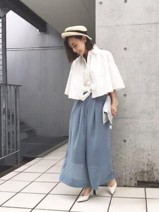 黒石奈央子さんの「CHIBI STRAW HAT(Ameri|アメリヴィンテージ)」を使ったコーディネート