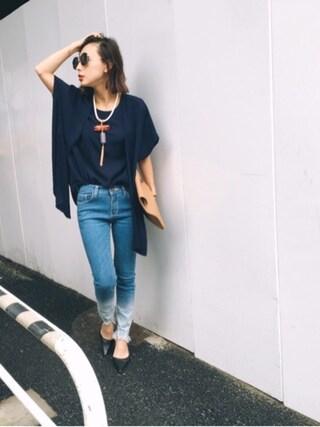 黒石奈央子さんの「SHOULDER CLOTH DESIGN TOP(AMERI|アメリヴィンテージ)」を使ったコーディネート