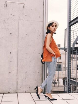 黒石奈央子さんの「LAYERED FEM TOP(Ameri|アメリヴィンテージ)」を使ったコーディネート