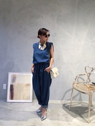 黒石奈央子さんの「LUMP SUGAR NECKLACE(AMERI|アメリヴィンテージ)」を使ったコーディネート