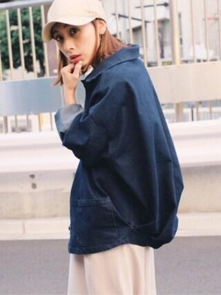 黒石奈央子さんの「ONE WASH VOLUME DENIM JK(AMERI|アメリヴィンテージ)」を使ったコーディネート