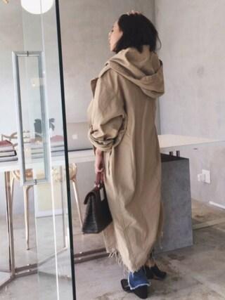 黒石奈央子さんの「MILITARY LONG CHUBBY JK(AMERI|アメリヴィンテージ)」を使ったコーディネート