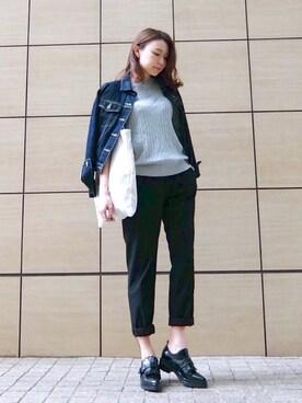 emiさんの「WOMEN コットンカシミヤケーブルクルーネックセーター(長袖)(ユニクロ)」を使ったコーディネート