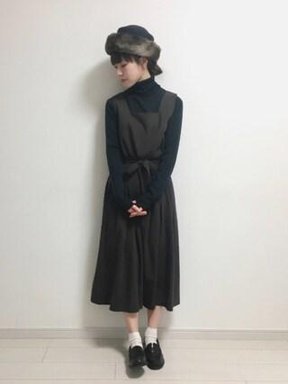 工藤春佳さんの「ウエストリボンジャンパースカート(archives|アルシーヴ)」を使ったコーディネート