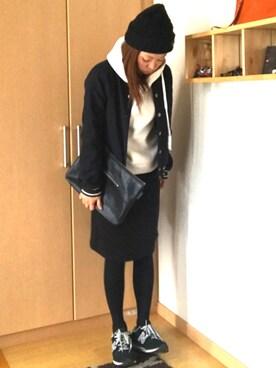 yuriyuriさんの「WOMEN スウェットスカート(ユニクロ)」を使ったコーディネート
