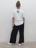 shoko kobayakawaさんの「30/-RT天竺パネルプリーツ風ワイドパンツ(AZUL by moussy|アズールバイマウジー)」を使ったコーディネート