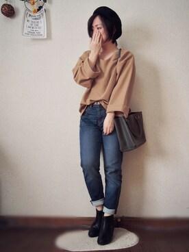 *MaRu*さんの「(GU)WOMENショートブーツ(GU)」を使ったコーディネート