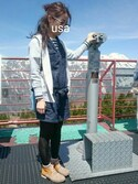 usaさんの「ウラケZIPパーカー長袖/708306(GLOBAL WORK|グローバルワーク)」を使ったコーディネート