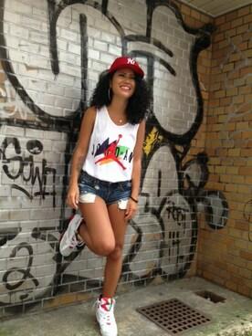 「NEWERA 59FIFTY CAP NEW YORK YANKEES SCARLET(NEW ERA)」 using this ONSPOTZスタッフ|YUI looks