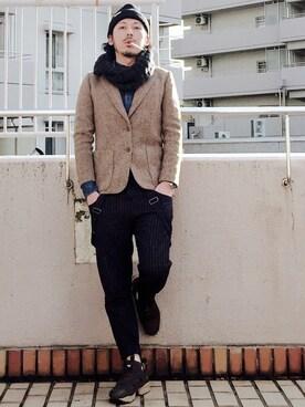MasaakiOoueさんの「コットンアクリルマルアミニットワッチ/708279(GLOBAL WORK)」を使ったコーディネート