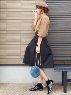 miho🅰ニコさんの「ボリューム袖ミラノリブニット(couture brooch|クチュールブローチ)」を使ったコーディネート