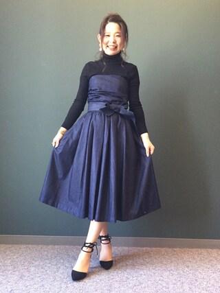 RANDA 本社|nakamura sayakaさんの「ベアワンピース(RANDA|ランダ)」を使ったコーディネート