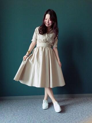 RANDA 本社|nakamura sayakaさんの「ミリタリーソフトフィットシャツワンピース(RANDA|ランダ)」を使ったコーディネート