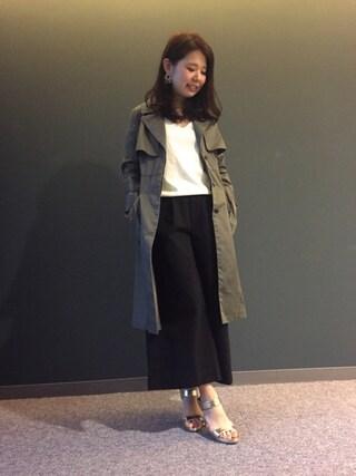 RANDA 本社|nakamura sayakaさんの「アウトポケットフレアトレンチコート(RANDA|ランダ)」を使ったコーディネート
