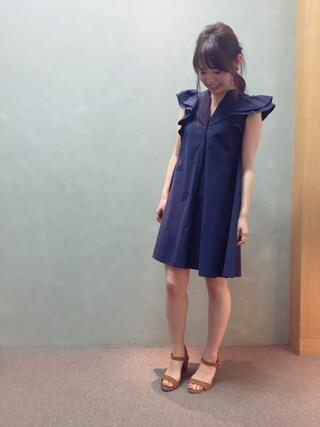 RANDA 本社|nakamura sayakaさんの「フリルAラインシャツワンピース(RANDA|ランダ)」を使ったコーディネート