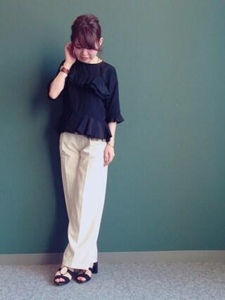 RANDA 本社|nakamura sayakaさんの「フリルブラウス(RANDA|ランダ)」を使ったコーディネート
