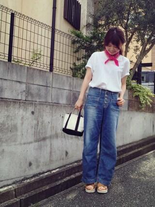 RANDA 本社|nakamura sayakaさんの「CAMILLE BIS RANDA/ジュートソールクロスデザインサンダル(RANDA|ランダ)」を使ったコーディネート
