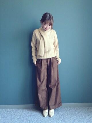 RANDA 本社|nakamura sayakaさんの「ワイドスエードロングパンツ(RANDA|ランダ)」を使ったコーディネート