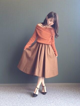 RANDA 本社|nakamura sayakaさんの「アシンメトリーボリュームフレアスカート(RANDA|ランダ)」を使ったコーディネート