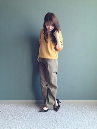 RANDA 本社|nakamura sayakaさんの「2wayVネックニット(RANDA|ランダ)」を使ったコーディネート