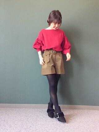 RANDA 本社|nakamura sayakaさんの「ドルマンビッグスリーブカットソー(RANDA|ランダ)」を使ったコーディネート