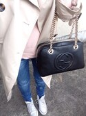 「Gucci Soho Leather Chain Shoulder Bag, Black(Gucci)」 using this コイズミエリナ looks