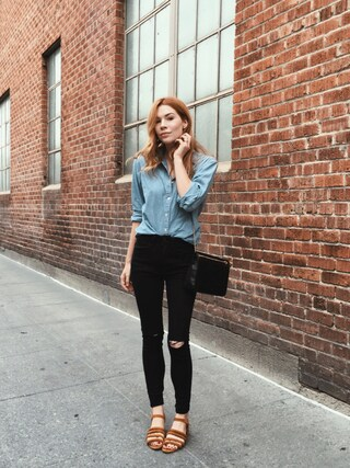 「Madewell Perfect Chambray Shirt(Madewell)」 using this PrettyLittleFawn looks