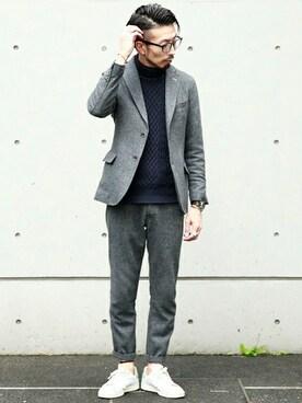 MEN'SMELROSE HEAD OFFICE( SHOP STAFF)|hiroshiさんの「EXTRA FINE カシミヤタッチアラン柄タートルネックニット(MEN'S MELROSE)」を使ったコーディネート
