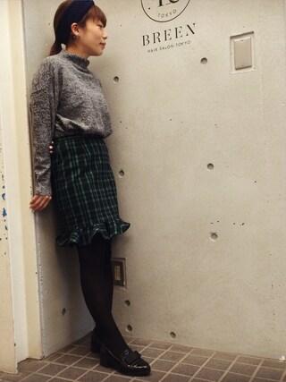 Hatsumiさんの「ブラッシュ チェック スカート(CORTES WORKS|コルテスワークス)」を使ったコーディネート