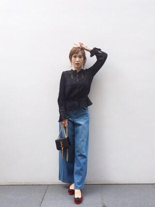 紗栄子さんの「【DUO】 ワイドデニムPT(MERCURYDUO|マーキュリーデュオ)」を使ったコーディネート