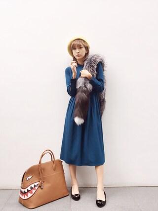 紗栄子さんの「フェルトベレー帽(Lily Brown|リリー ブラウン)」を使ったコーディネート