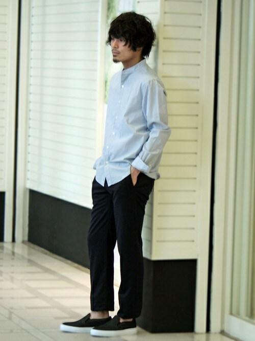 ivory courtランドマークプラザ店   hoshinoさんのシャツ/ブラウス「ivory court ◆マイクロサッカーバンドカラーシャツ」を使ったコーディネート