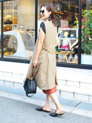 MODEROBE|MODEROBE.OFFICIALさんの「GUCCI Princetown leather backless loafers(Gucci|グッチ)」を使ったコーディネート