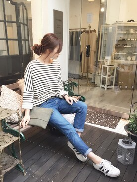 「ボーダー柄ルーズライトスウェット(STYLE DELI)」 using this STYLE DELI|Emi Kinjo looks