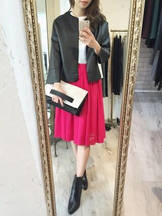 「【LUXE】エコレザーカットオフジャケット(STYLE DELI)」 using this STYLE DELI|Emi Kinjo looks
