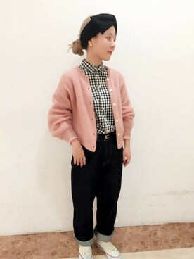 Dot&StripesCHILD WOMAN.atelier|Dot&Stripes CHILDWOMANさんの「KIDモヘア混          あぜショートクルーC/D(Dot&Stripes CHILD WOMAN)」を使ったコーディネート