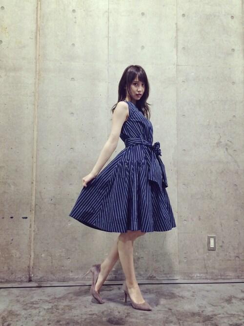 永尾まりや  mariyagiさんの「リボンパターンワンピース(FRAY I.D)」を使ったコーディネート