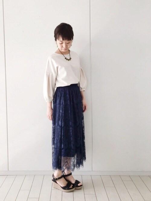 haco!|maruさんのTシャツ/カットソー「袖タックがきれいなポンチトップス(haco!|ハコ)」を使ったコーディネート