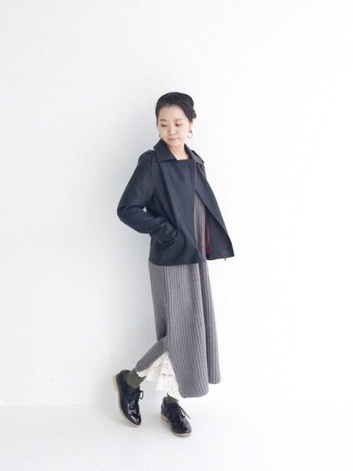 maruさんの「初心者も安心、ハードすぎずに着やすいライダースジャケット(haco!)」を使ったコーディネート