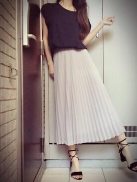 瞳美さんの「WOMEN シフォンプリーツスカート(ユニクロ|ユニクロ)」を使ったコーディネート