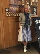 「BOHEMIANS / ボヘミアンズ  WHITE AND BLUE GATHER SKIRT (4)(BOHEMIANS)」 using this まるやま、ま looks