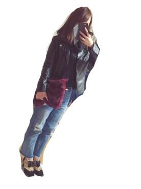lisaさんの「ダブルライダース合皮ジャケット(titivate)」を使ったコーディネート